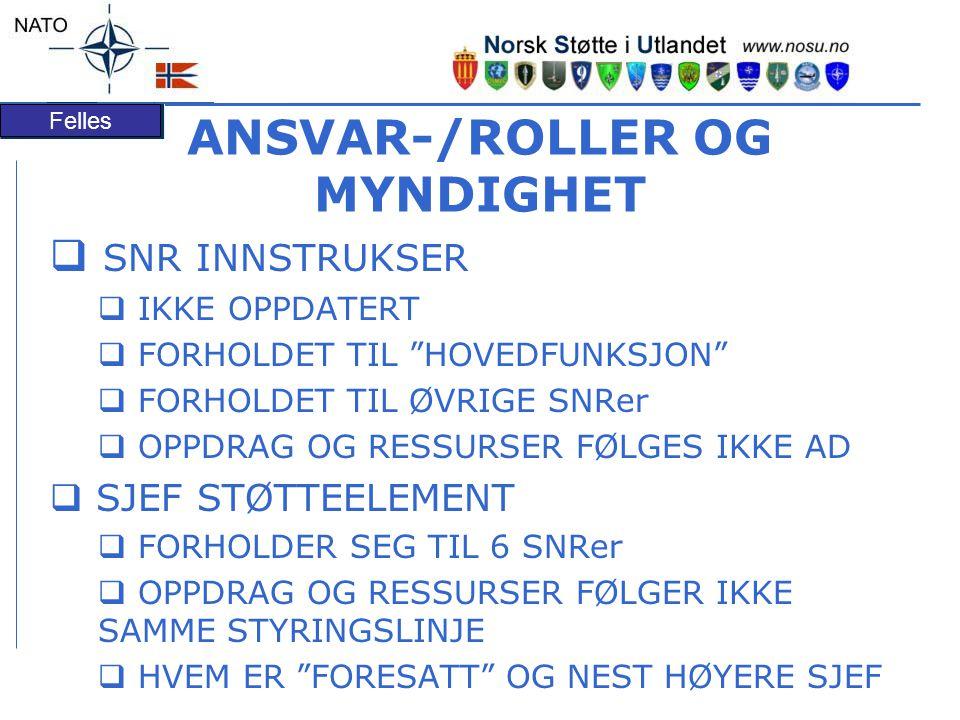 ANSVAR-/ROLLER OG MYNDIGHET