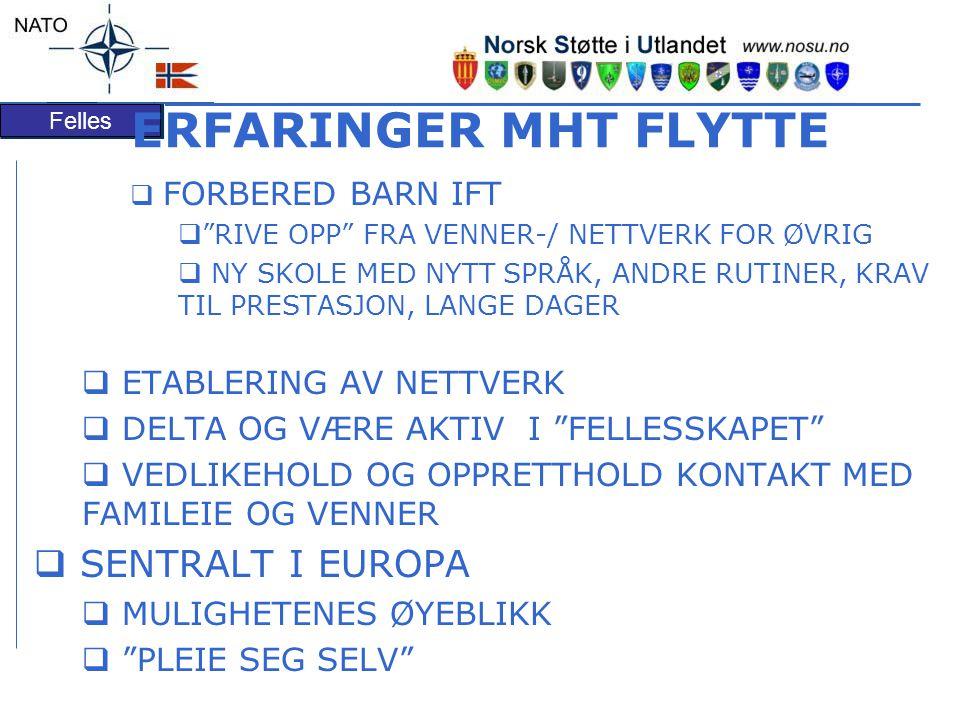 ERFARINGER MHT FLYTTE SENTRALT I EUROPA ETABLERING AV NETTVERK