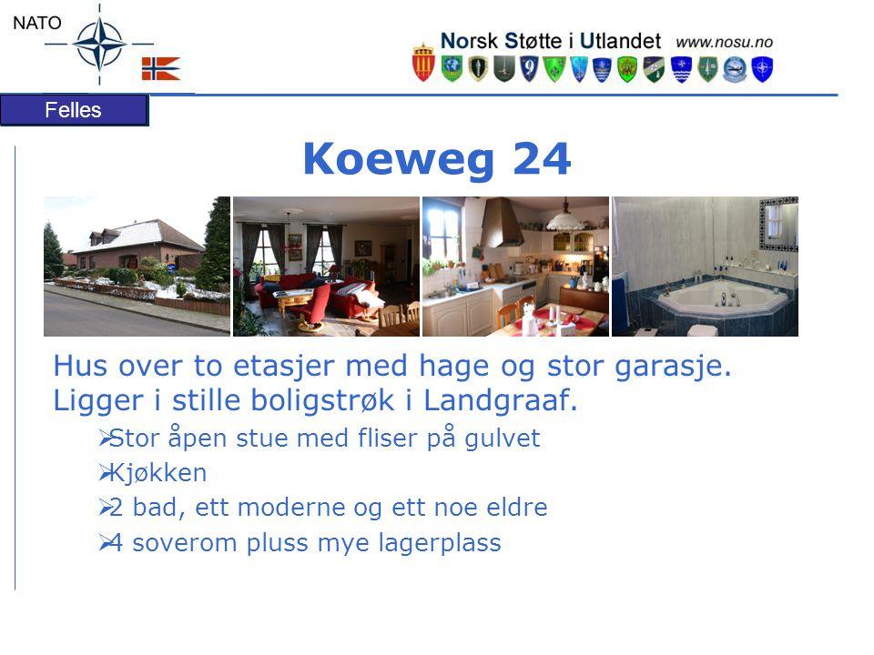 Koeweg 24 Hus over to etasjer med hage og stor garasje. Ligger i stille boligstrøk i Landgraaf. Stor åpen stue med fliser på gulvet.