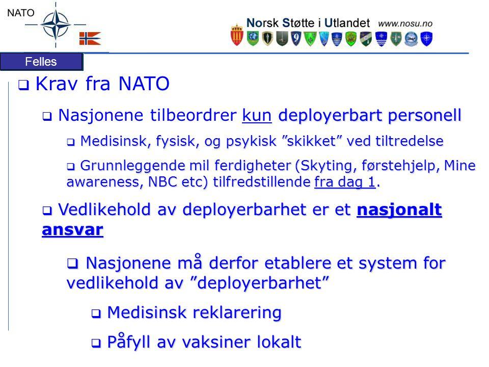 Krav fra NATO Nasjonene tilbeordrer kun deployerbart personell. Medisinsk, fysisk, og psykisk skikket ved tiltredelse.
