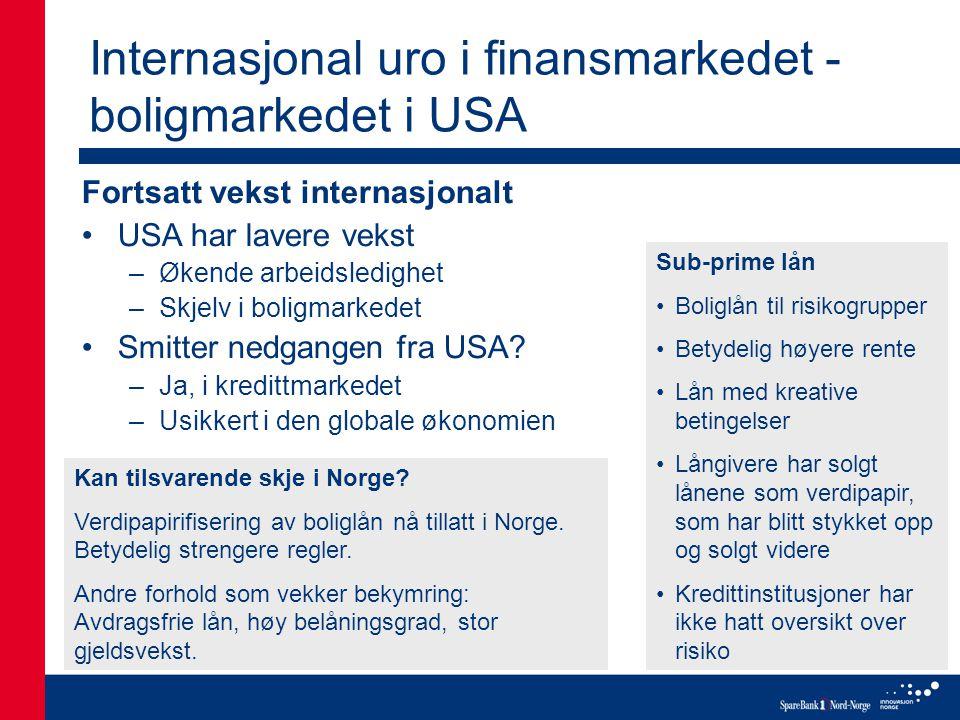 Internasjonal uro i finansmarkedet - boligmarkedet i USA