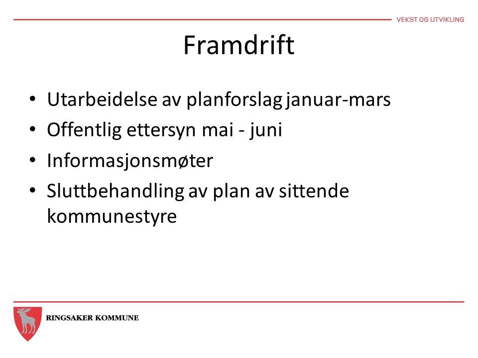 Framdrift Utarbeidelse av planforslag januar-mars