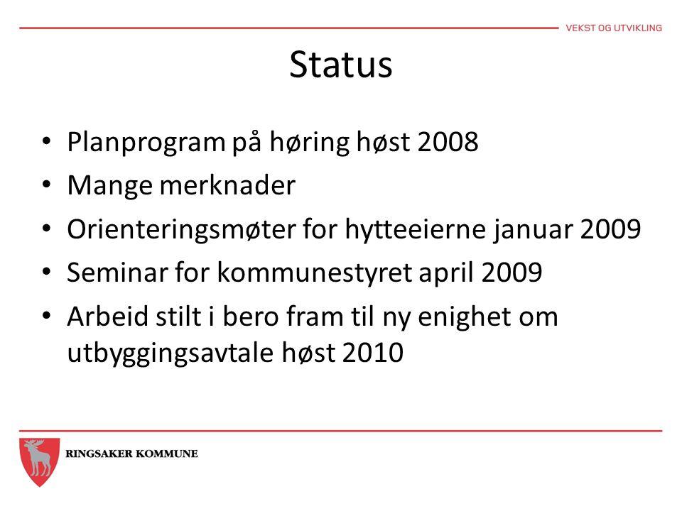 Status Planprogram på høring høst 2008 Mange merknader