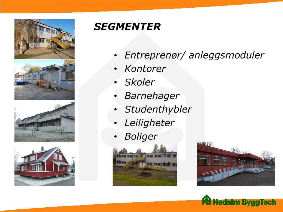 SEGMENTER Entreprenør/ anleggsmoduler Kontorer Skoler Barnehager