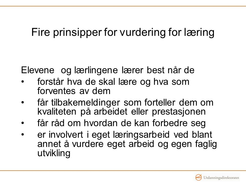 Fire prinsipper for vurdering for læring