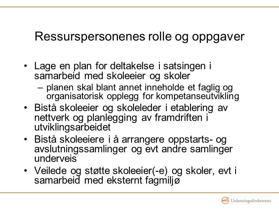 Ressurspersonenes rolle og oppgaver