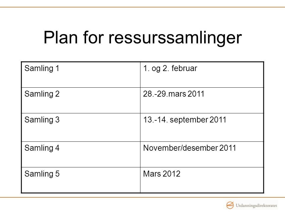Plan for ressurssamlinger