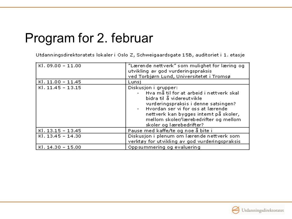 Program for 2. februar