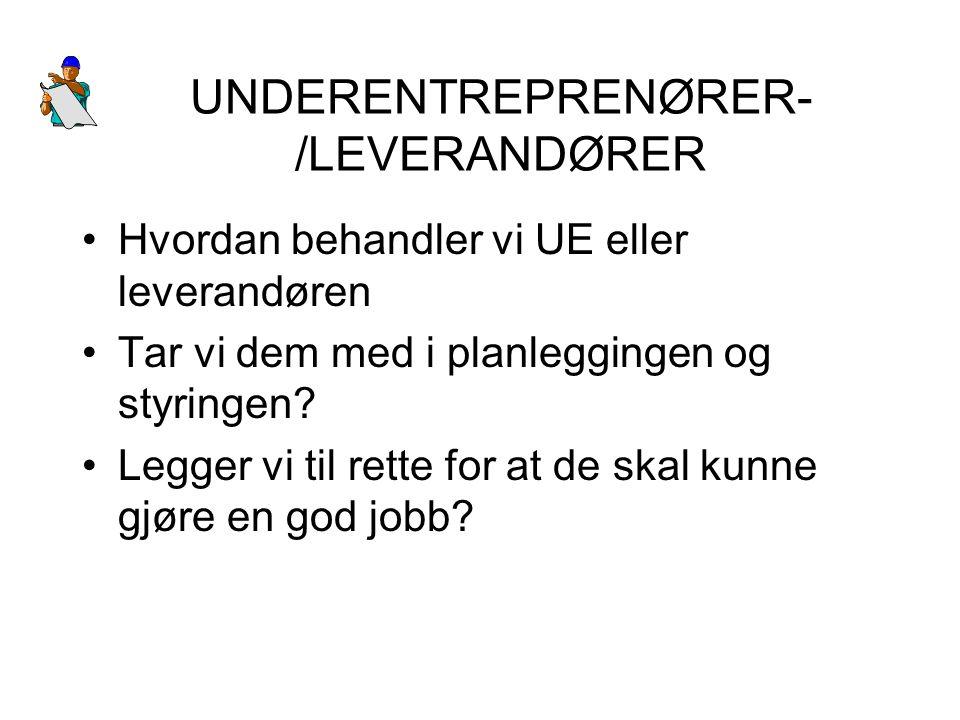 UNDERENTREPRENØRER-/LEVERANDØRER