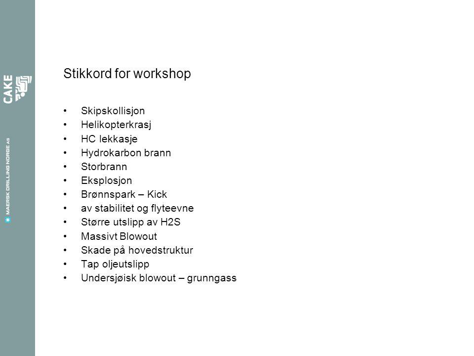 Stikkord for workshop Skipskollisjon Helikopterkrasj HC lekkasje