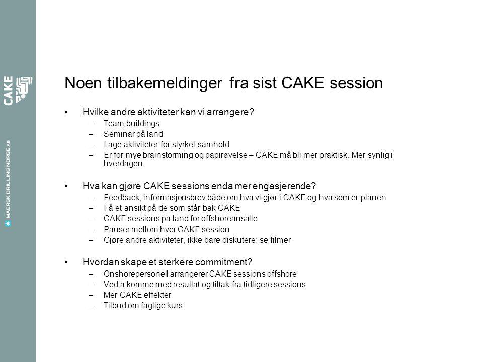 Noen tilbakemeldinger fra sist CAKE session