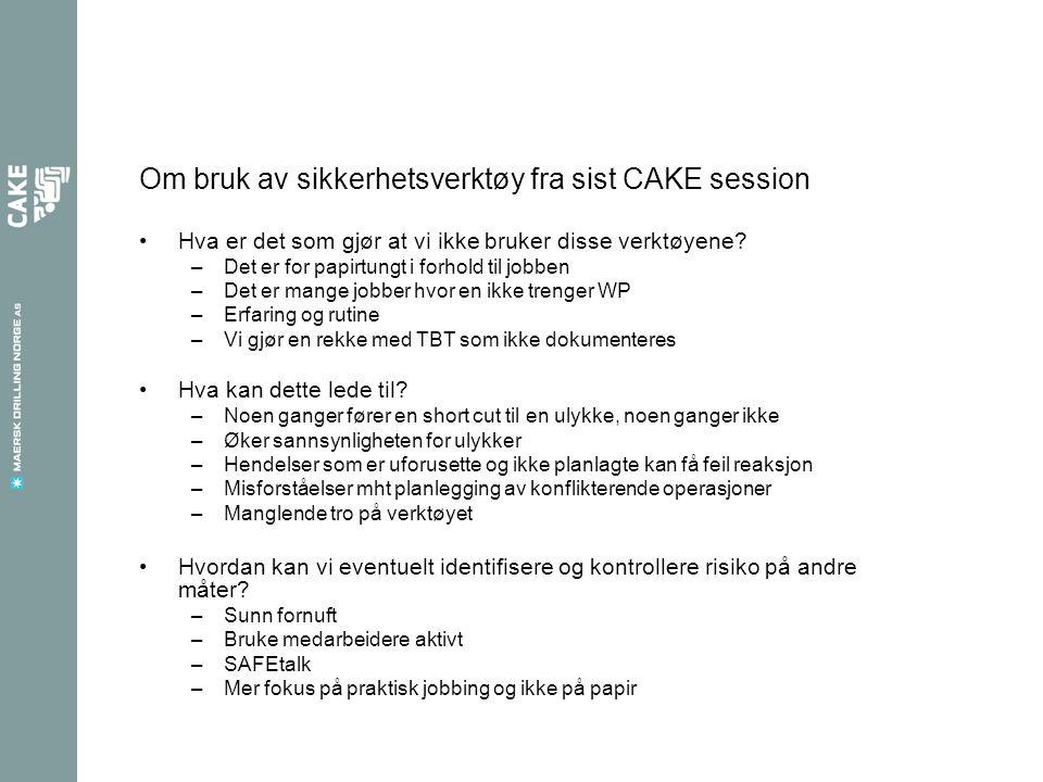 Om bruk av sikkerhetsverktøy fra sist CAKE session