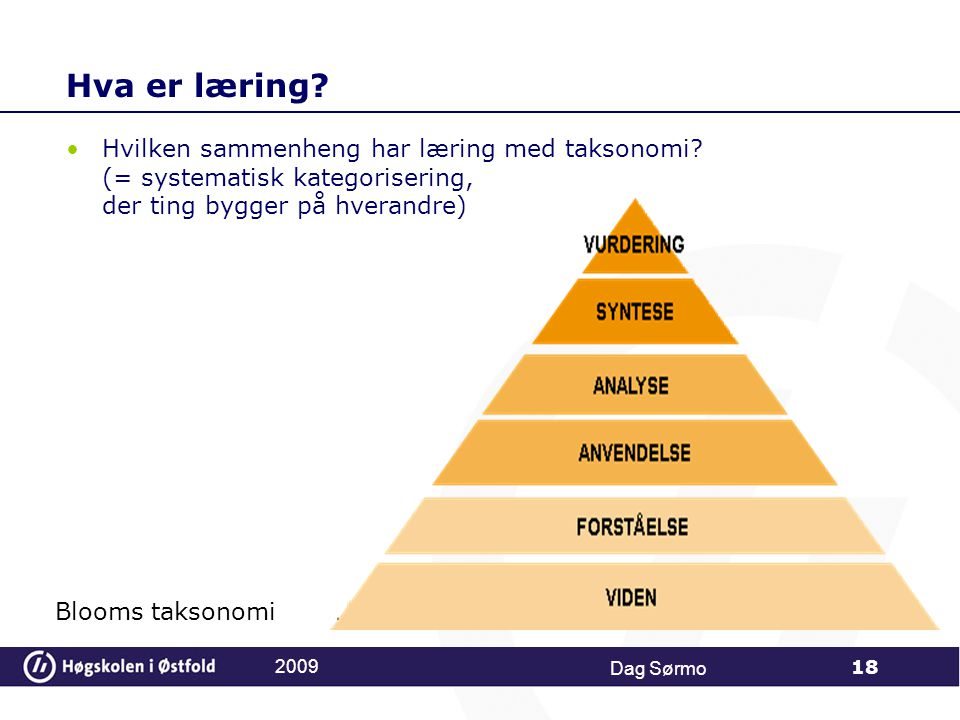 Hva er læring Hvilken sammenheng har læring med taksonomi (= systematisk kategorisering, der ting bygger på hverandre)