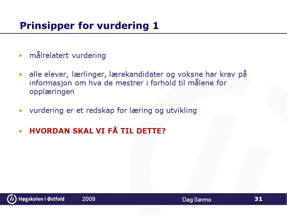 Prinsipper for vurdering 1