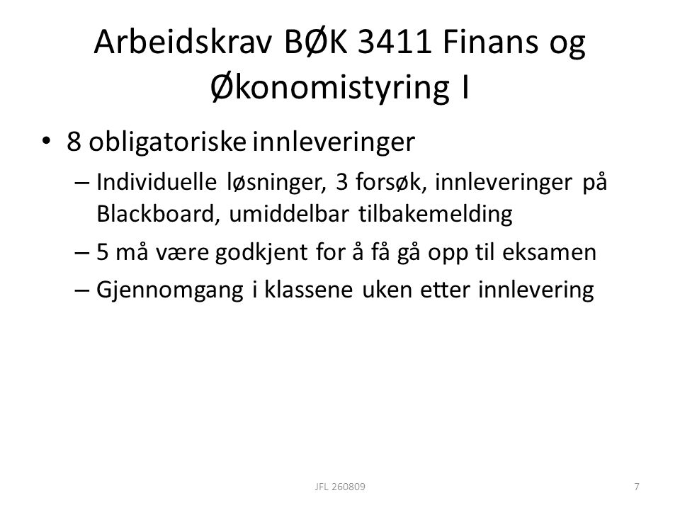 Arbeidskrav BØK 3411 Finans og Økonomistyring I