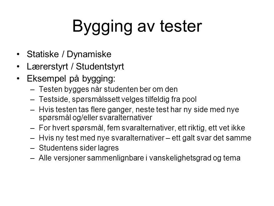 Bygging av tester Statiske / Dynamiske Lærerstyrt / Studentstyrt