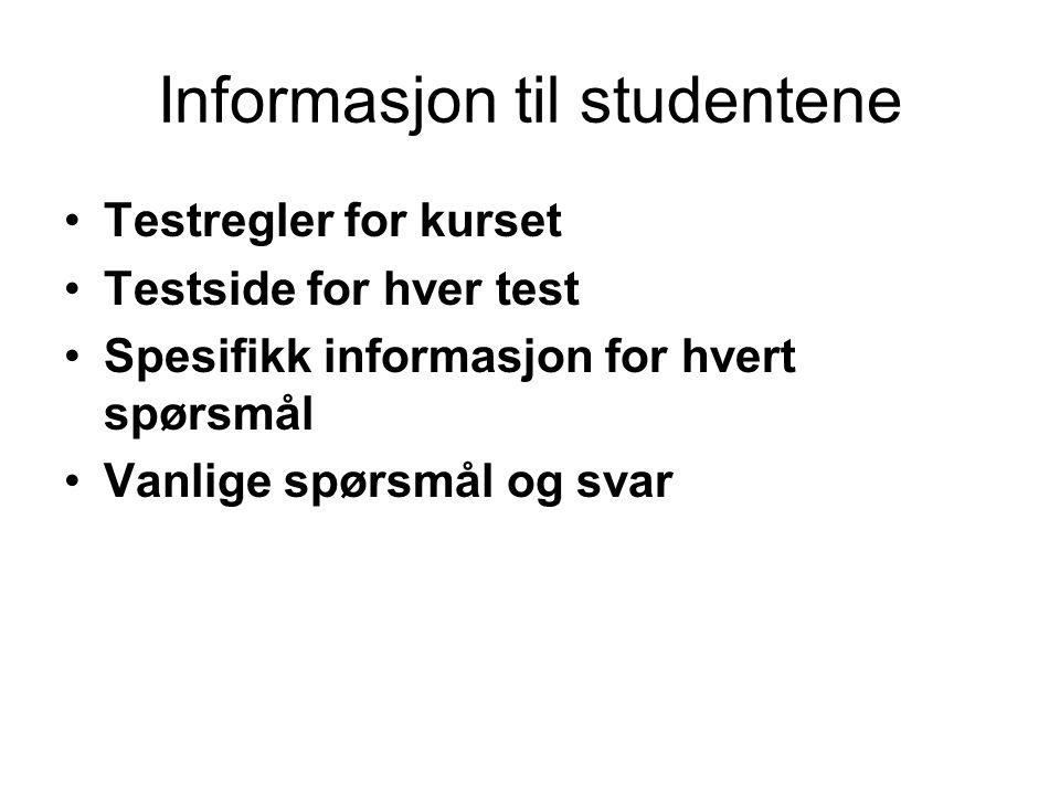Informasjon til studentene