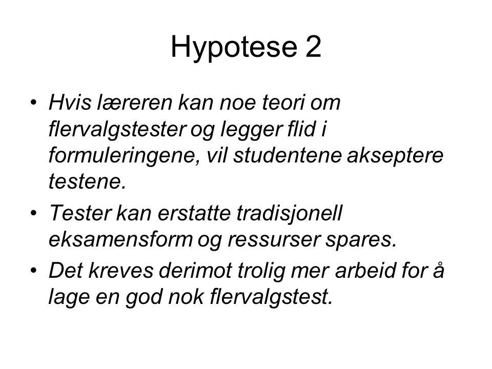 Hypotese 2 Hvis læreren kan noe teori om flervalgstester og legger flid i formuleringene, vil studentene akseptere testene.