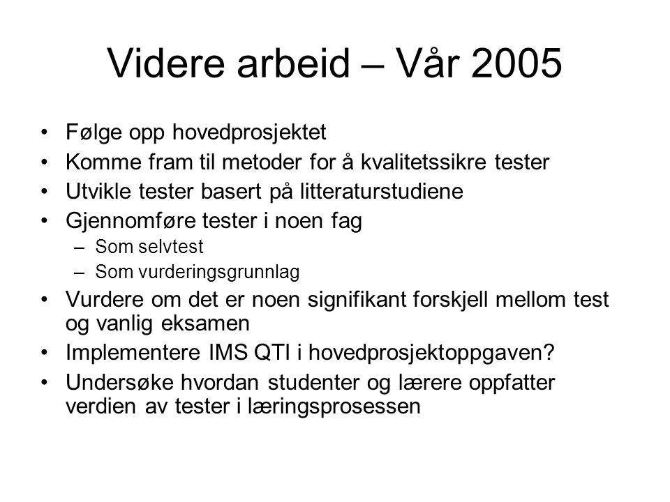 Videre arbeid – Vår 2005 Følge opp hovedprosjektet