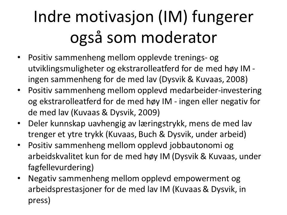 Indre motivasjon (IM) fungerer også som moderator