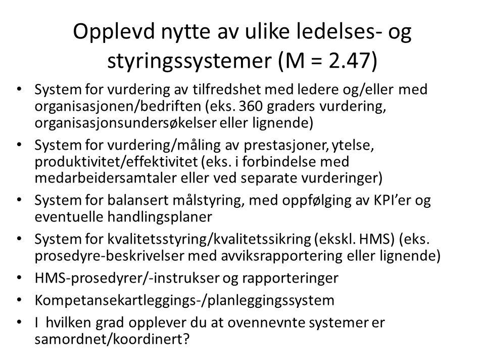 Opplevd nytte av ulike ledelses- og styringssystemer (M = 2.47)