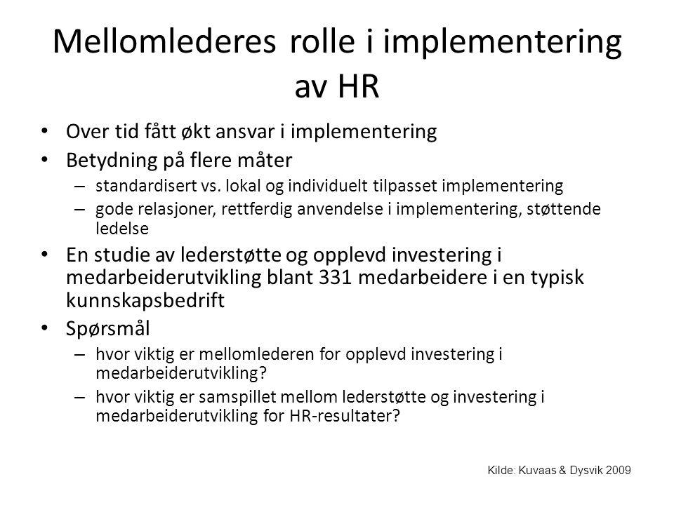 Mellomlederes rolle i implementering av HR