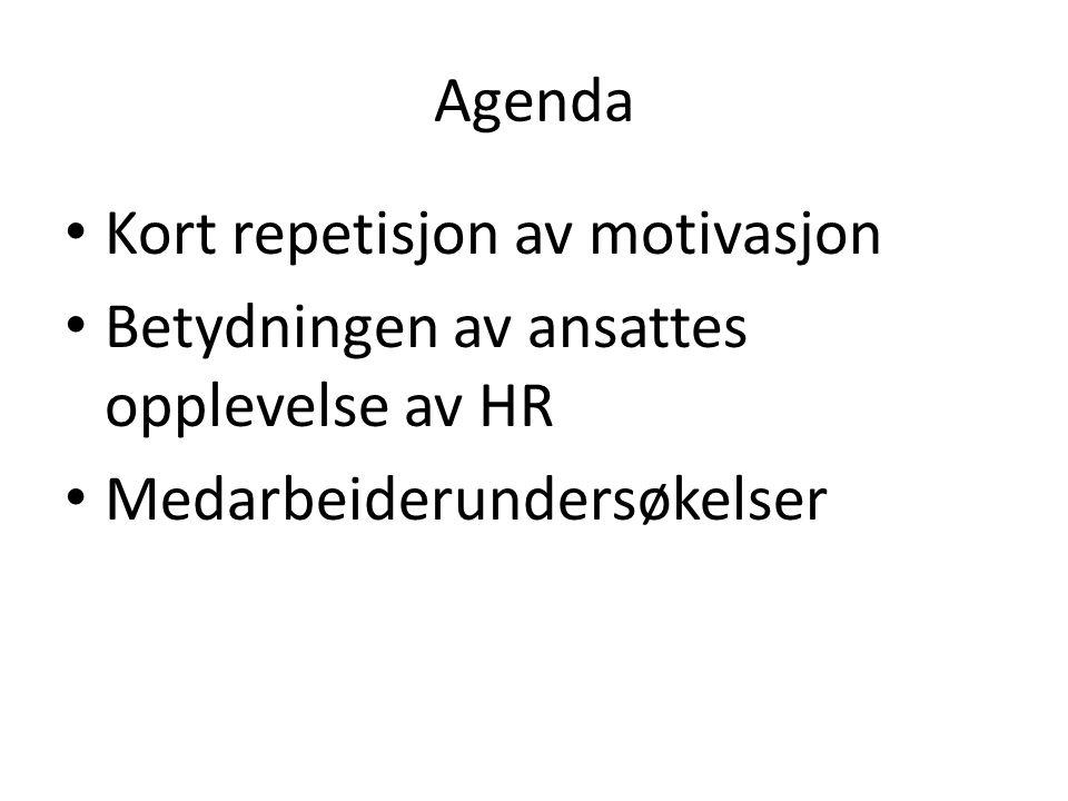 Agenda Kort repetisjon av motivasjon. Betydningen av ansattes opplevelse av HR.