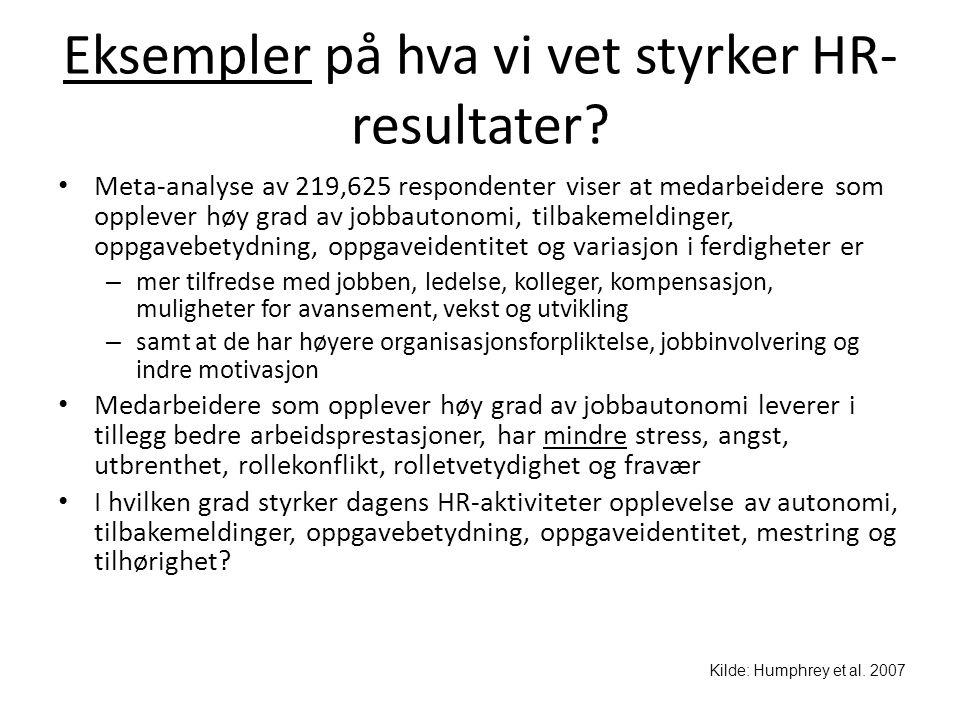 Eksempler på hva vi vet styrker HR-resultater