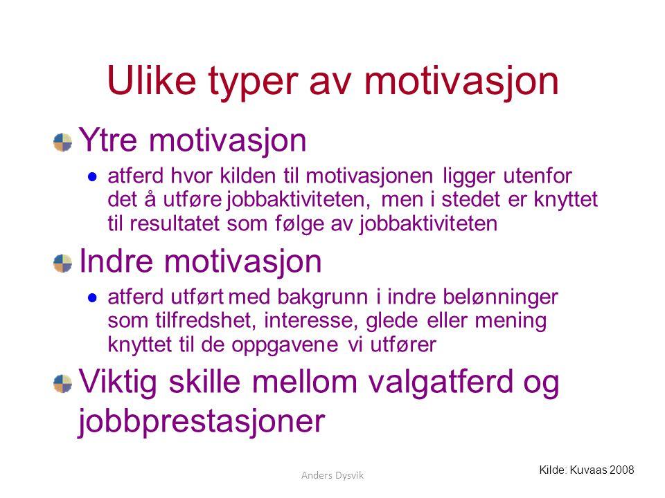 Ulike typer av motivasjon