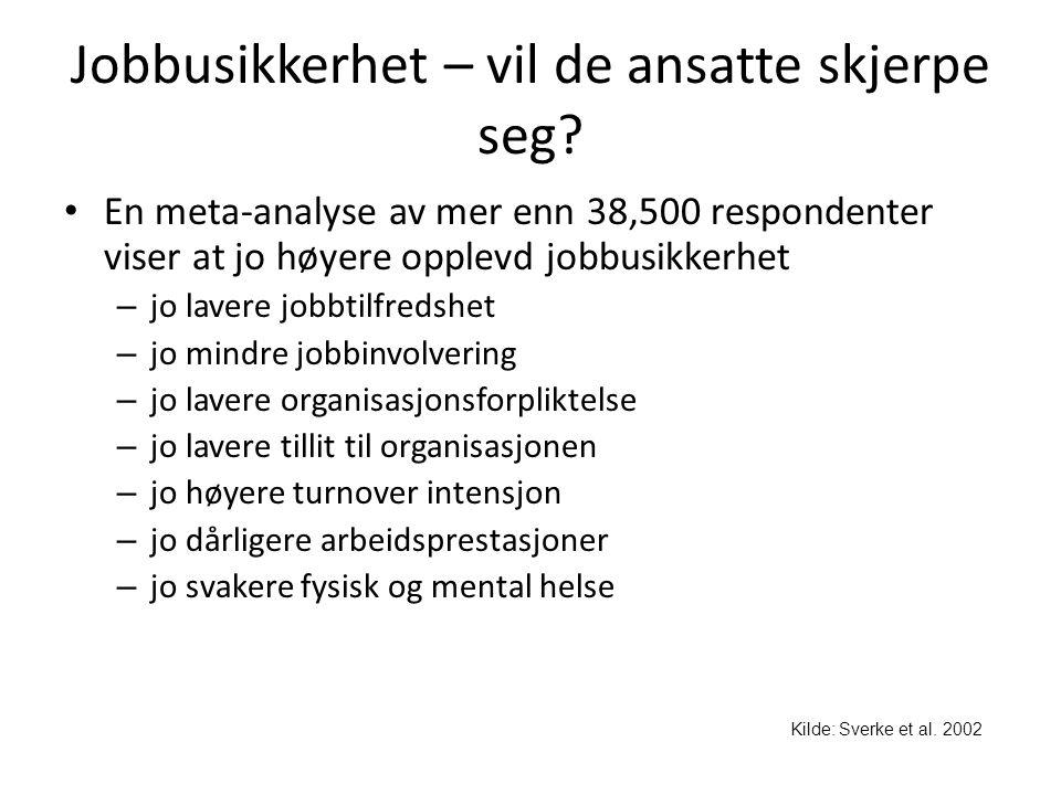Jobbusikkerhet – vil de ansatte skjerpe seg