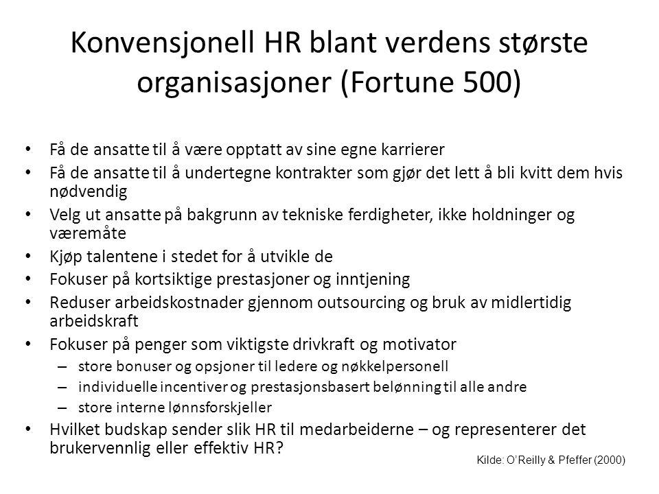Konvensjonell HR blant verdens største organisasjoner (Fortune 500)
