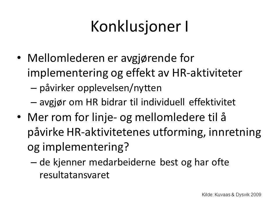 Konklusjoner I Mellomlederen er avgjørende for implementering og effekt av HR-aktiviteter. påvirker opplevelsen/nytten.