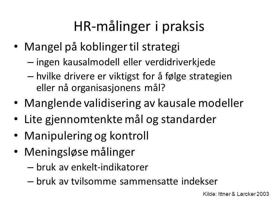 HR-målinger i praksis Mangel på koblinger til strategi