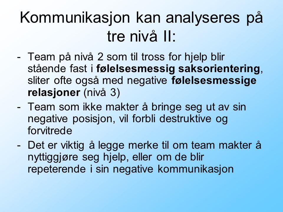 Kommunikasjon kan analyseres på tre nivå II: