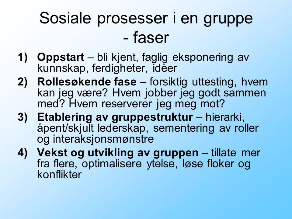 Sosiale prosesser i en gruppe - faser