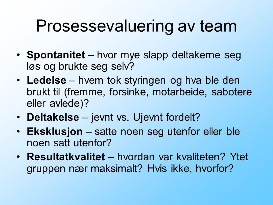 Prosessevaluering av team