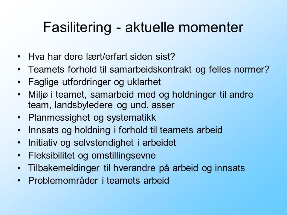 Fasilitering - aktuelle momenter