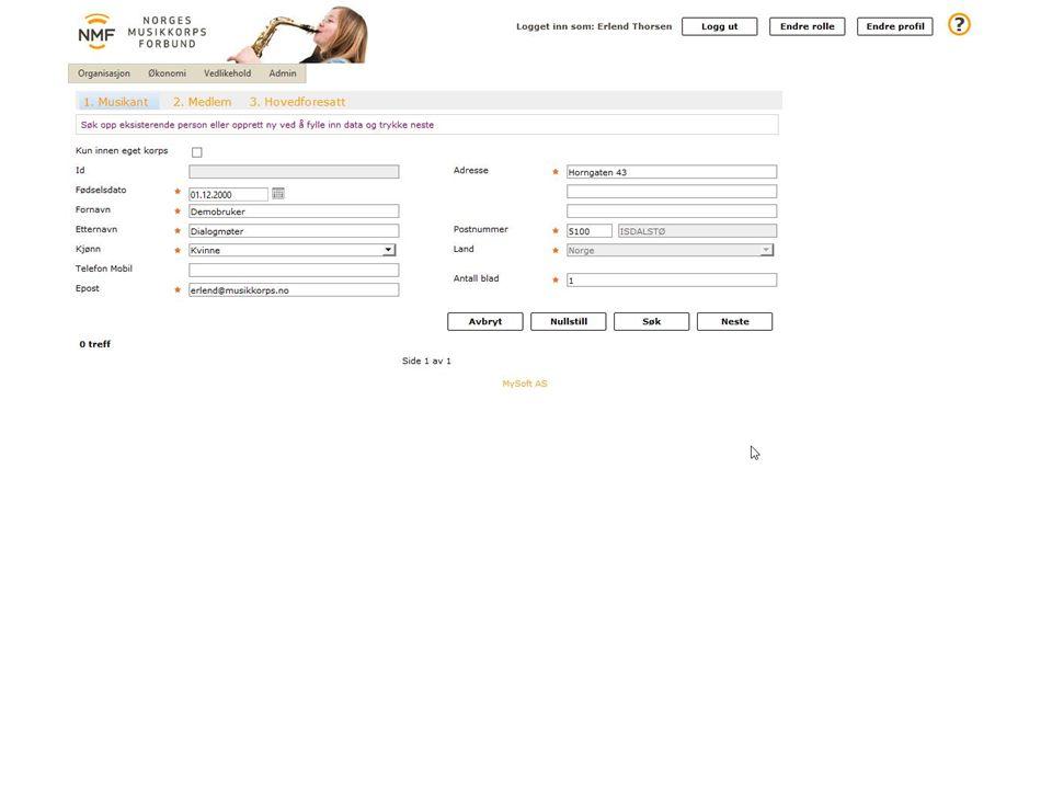 Ved å klikke på «Nytt medlem» i forrige bilde, kan en registrere nye medlemmer i korpset.