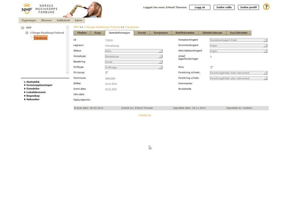 Sentralinformasjon er det NMF har registrert om korpset