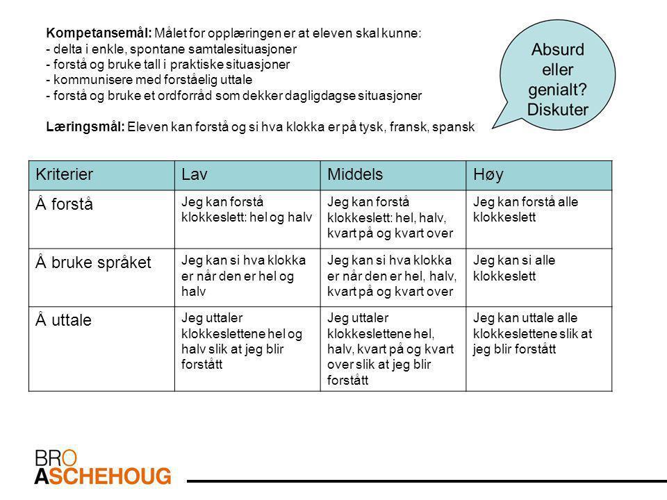 Kriterier Lav Middels Høy Å forstå Å bruke språket Å uttale