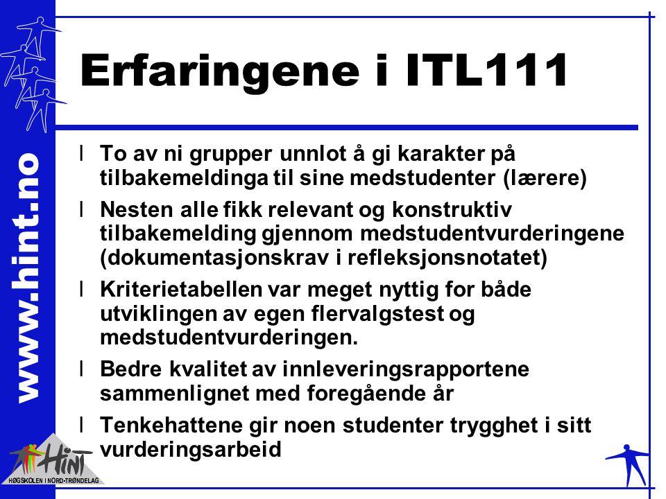 Erfaringene i ITL111 To av ni grupper unnlot å gi karakter på tilbakemeldinga til sine medstudenter (lærere)