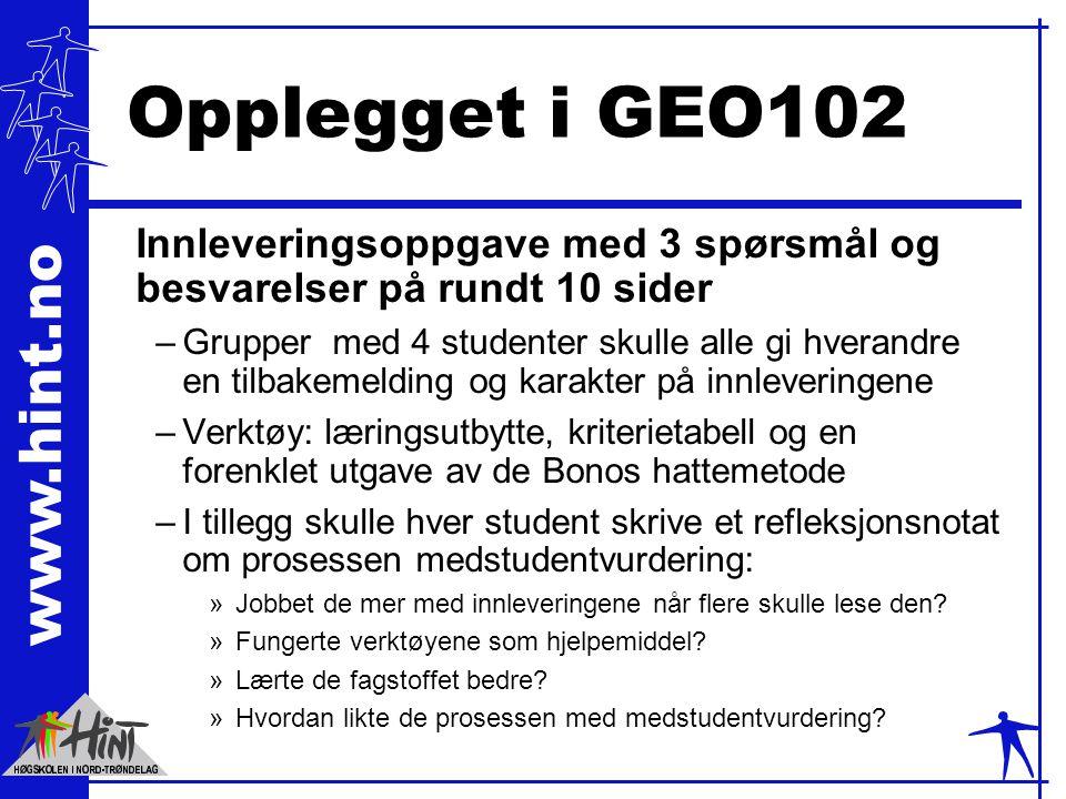 Opplegget i GEO102 Innleveringsoppgave med 3 spørsmål og besvarelser på rundt 10 sider.