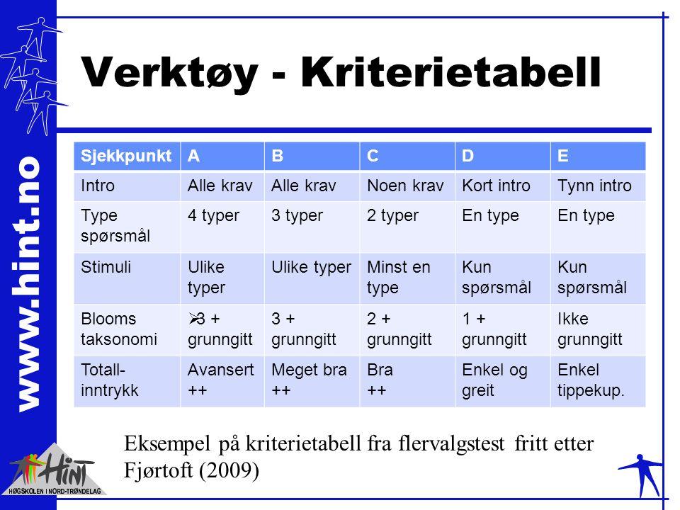 Verktøy - Kriterietabell