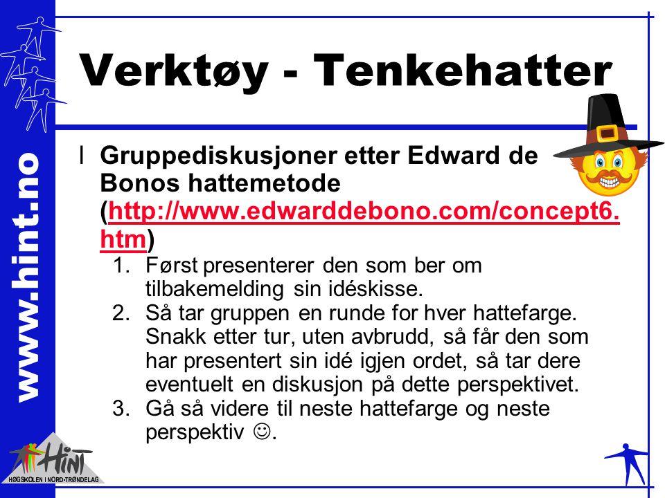 Verktøy - Tenkehatter Gruppediskusjoner etter Edward de Bonos hattemetode (http://www.edwarddebono.com/concept6.htm)