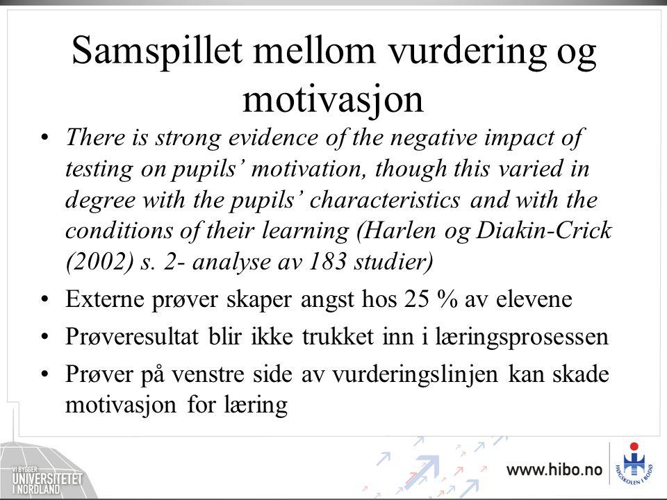 Samspillet mellom vurdering og motivasjon
