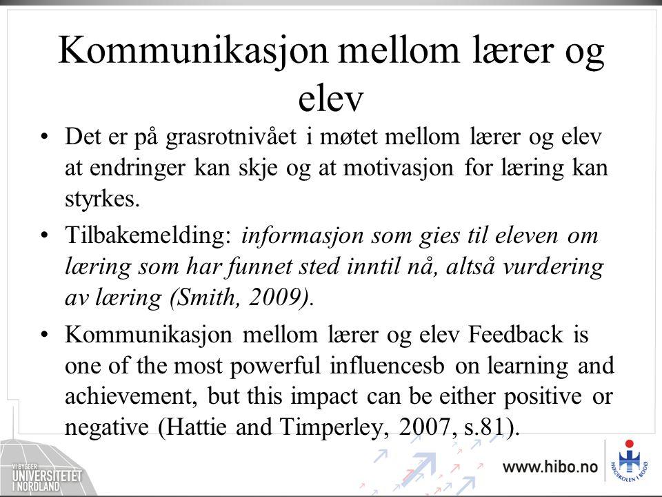 Kommunikasjon mellom lærer og elev
