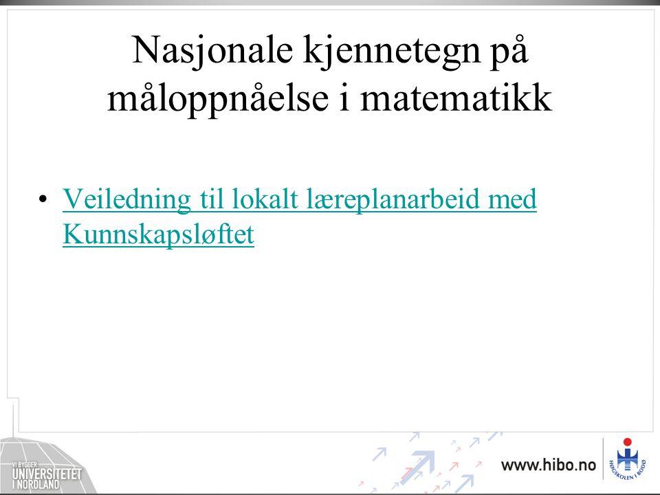 Nasjonale kjennetegn på måloppnåelse i matematikk
