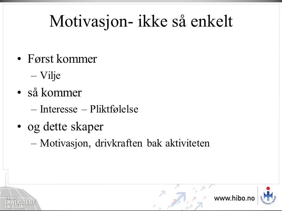 Motivasjon- ikke så enkelt