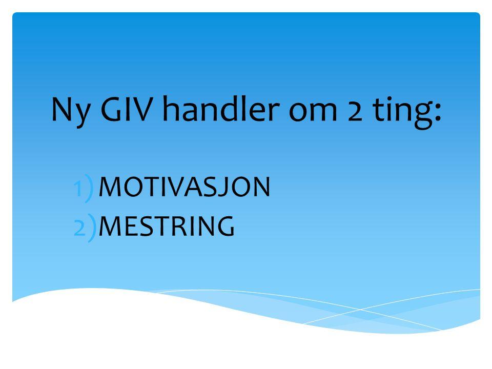 Ny GIV handler om 2 ting: MOTIVASJON MESTRING