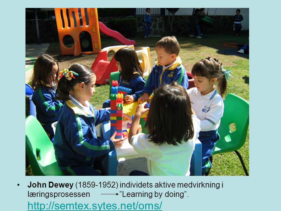 John Dewey ( ) individets aktive medvirkning i læringsprosessen Learning by doing .